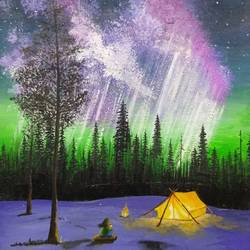 aurora borealis, 5 x 7 inch, ashwini samy,5x7inch,thick paper,paintings,landscape paintings,nature paintings | scenery paintings,paintings for dining room,paintings for living room,paintings for bedroom,paintings for kids room,paintings for hotel,paintings for school,acrylic color,GAL02473036149