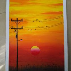 sunset, 3 x 5 inch, ashwini samy,3x5inch,thick paper,paintings,nature paintings | scenery paintings,paintings for dining room,paintings for living room,paintings for bedroom,paintings for office,paintings for kids room,acrylic color,poster color,GAL02473036150