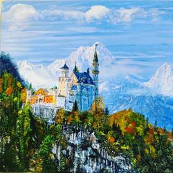 neuschwanstein castle, 16 x 12 inch, jeff bourne,16x12inch,canvas,paintings,landscape paintings,nature paintings | scenery paintings,paintings for dining room,paintings for living room,paintings for bedroom,paintings for office,paintings for hotel,oil color,GAL02367036154