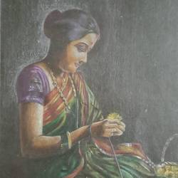 ladies with flowers mala, 9 x 13 inch, vrushali bhutada,9x13inch,paper,paintings,portrait paintings,paintings for living room,pencil color,paper,GAL02073236155