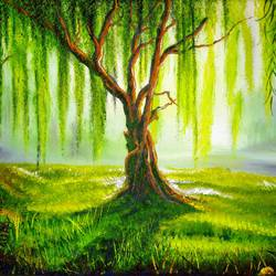 a willow tree, 20 x 16 inch, jeff bourne,20x16inch,canvas,paintings,landscape paintings,nature paintings | scenery paintings,paintings for dining room,paintings for living room,paintings for bedroom,paintings for office,paintings for hotel,oil color,GAL02367036160