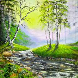 into the woods, 20 x 16 inch, jeff bourne,20x16inch,canvas,paintings,landscape paintings,nature paintings   scenery paintings,paintings for dining room,paintings for living room,paintings for bedroom,paintings for office,paintings for hotel,oil color,GAL02367036161