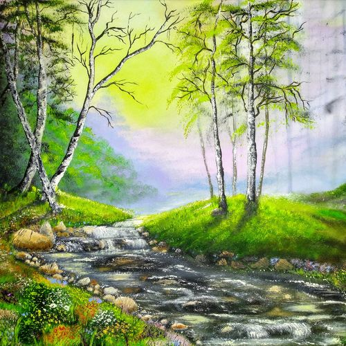 into the woods, 20 x 16 inch, jeff bourne,20x16inch,canvas,paintings,landscape paintings,nature paintings | scenery paintings,paintings for dining room,paintings for living room,paintings for bedroom,paintings for office,paintings for hotel,oil color,GAL02367036161