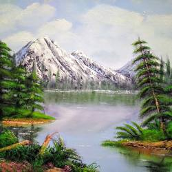 mountain by the lake, 16 x 12 inch, jeff bourne,16x12inch,canvas,paintings,landscape paintings,nature paintings   scenery paintings,paintings for dining room,paintings for living room,paintings for bedroom,paintings for office,paintings for hotel,oil color,GAL02367036165