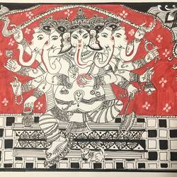 panchmukhi ganesha , 12 x 8 inch, bhumika desai,12x8inch,thick paper,paintings,madhubani paintings | madhubani art,paintings for dining room,paintings for living room,paintings for office,paintings for hotel,paintings for dining room,paintings for living room,paintings for office,paintings for hotel,pen color,paper,GAL02457736166