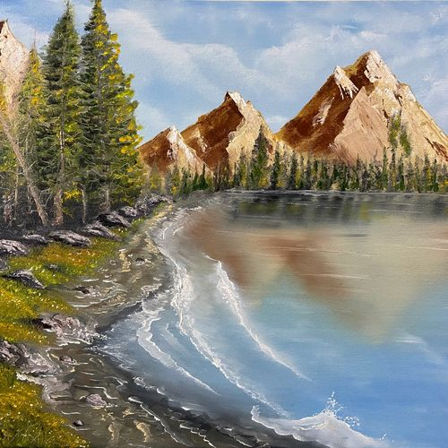 mountains by the beach, 20 x 16 inch, jeff bourne,20x16inch,canvas,paintings,landscape paintings,nature paintings | scenery paintings,paintings for dining room,paintings for living room,paintings for bedroom,paintings for office,paintings for hotel,oil color,GAL02367036167