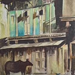 village view, 9 x 13 inch, vrushali bhutada,9x13inch,brustro watercolor paper,paintings,landscape paintings,paintings for living room,paintings for office,paintings for hotel,paintings for school,watercolor,paper,GAL02073236168