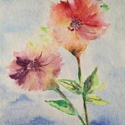 flowers, 9 x 13 inch, vrushali bhutada,9x13inch,brustro watercolor paper,paintings,flower paintings,watercolor,paper,GAL02073236171