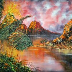 red seasons, 20 x 16 inch, jeff bourne,20x16inch,canvas,paintings,landscape paintings,nature paintings | scenery paintings,paintings for dining room,paintings for living room,paintings for bedroom,paintings for office,paintings for hotel,oil color,GAL02367036172