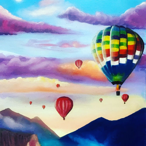 hot air balloons, 11 x 16 inch, madhulika anand,11x16inch,canvas,landscape paintings,modern art paintings,art deco paintings,photorealism paintings,pop art paintings,realism paintings,surrealism paintings,paintings for living room,paintings for kids room,paintings for school,paintings for living room,paintings for kids room,paintings for school,oil color,GAL02473436173
