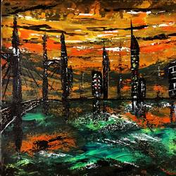 the lost city, 12 x 10 inch, jeff bourne,12x10inch,canvas,paintings,abstract paintings,cityscape paintings,paintings for dining room,paintings for living room,paintings for bedroom,paintings for office,paintings for hotel,acrylic color,GAL02367036175