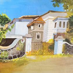 house, 13 x 9 inch, vrushali bhutada,13x9inch,hardboard,paintings,cityscape paintings,paintings for living room,paintings for office,paintings for hotel,paintings for school,poster color,GAL02073236178