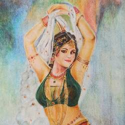 dancer, 5 x 8 inch, vrushali bhutada,5x8inch,paper,paintings,figurative paintings,paintings for living room,paintings for bedroom,paintings for hotel,pencil color,GAL02073236180