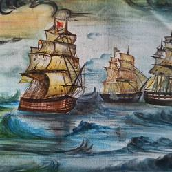 sea ship, 13 x 8 inch, vrushali bhutada,13x8inch,canvas,paintings,nature paintings | scenery paintings,paintings for living room,paintings for office,paintings for hotel,mixed media,GAL02073236187