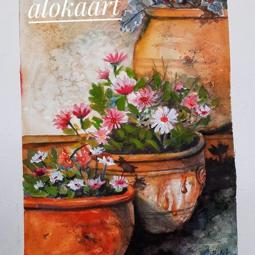 flower pot, 8 x 11 inch, alakananda ghoshal,8x11inch,thick paper,paintings,flower paintings,still life paintings,paintings for dining room,paintings for living room,paintings for bedroom,paintings for office,paintings for hotel,watercolor,paper,GAL0584136196