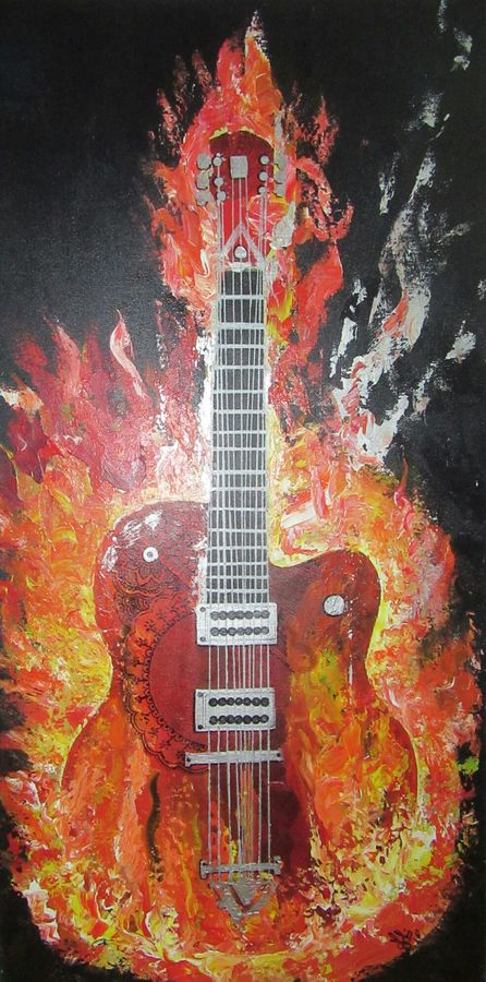fusion guitar, 20 x 40 inch, mohi jaya,modern art paintings,paintings for living room,canvas,acrylic color,20x40inch,GAL0157362