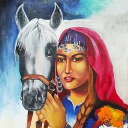 woman with horse, 14 x 18 inch, komal  bharti ,14x18inch,canvas,portrait paintings,acrylic color,GAL02470036204