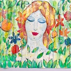 abstract painting of a girl in jungle on canvas, 20 x 26 inch, munmun kochar ,20x26inch,canvas,abstract paintings,acrylic color,GAL02470236205