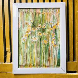 abstract sunflower painting, , 11 x 8 inch, munmun kochar ,11x8inch,thick paper,paintings,flower paintings,paintings for dining room,paintings for living room,paintings for bedroom,paintings for office,paintings for bathroom,paintings for kids room,paintings for hotel,paintings for kitchen,watercolor,paper,GAL02470236208