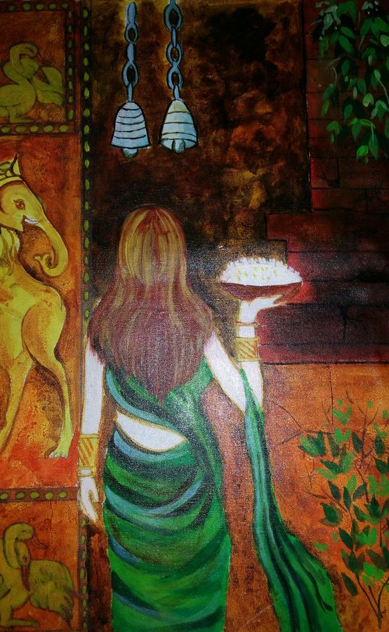 a lady at temple for prayer , 25 x 18 inch, popo singh,abstract paintings,paintings for living room,religious paintings,canvas,watercolor,25x18inch,GAL013293621