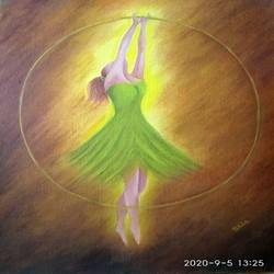 dancer in green, 16 x 20 inch, nikita hemchand,16x20inch,canvas,paintings,abstract paintings,figurative paintings,paintings for dining room,paintings for living room,paintings for bedroom,paintings for hotel,paintings for hospital,oil color,GAL01146336213