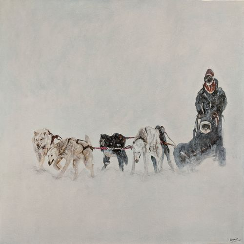 men on a sledge, 24 x 18 inch, paramita batabyal,24x18inch,canvas,paintings,wildlife paintings,figurative paintings,landscape paintings,modern art paintings,animal paintings,dog painting,paintings for dining room,paintings for living room,paintings for bedroom,paintings for office,acrylic color,GAL01880136214