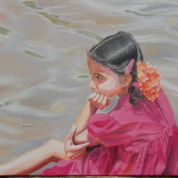 innocent beautiful girl, 28 x 20 inch, amruta dabhekar,portrait paintings,paintings for office,canvas,oil,28x20inch,GAL09543622