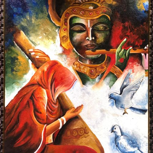 krishna ki meera, 21 x 26 inch, manvi bansal,21x26inch,canvas,paintings,religious paintings,paintings for dining room,paintings for living room,paintings for office,paintings for hotel,paintings for kitchen,paintings for hospital,acrylic color,GAL02476436221