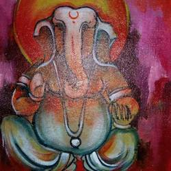 sree ganesh, 8 x 12 inch, popo singh,paintings for dining room,religious paintings,ganesha paintings,canvas,watercolor,8x12inch,GAL013293623,vinayak,ekadanta,ganpati,lambodar,peace,devotion,religious,lord ganesha,lordganpati,,ganpati,ganesha,lord ganesh,elephant god,religious,ganpati bappa morya,mouse,mushakraj,ladoo,sweets