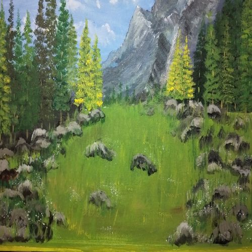 a sunny meadow, 24 x 18 inch, simla moideen,24x18inch,canvas board,landscape paintings,acrylic color,GAL02477236234