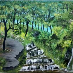waterfall through a forest, 24 x 18 inch, simla moideen,24x18inch,canvas,paintings,landscape paintings,acrylic color,GAL02477236236