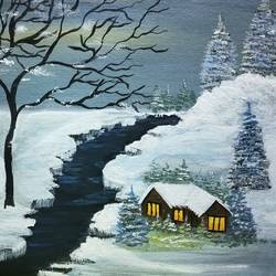 snowing winter, 24 x 18 inch, simla moideen,24x18inch,canvas,landscape paintings,acrylic color,GAL02477236237