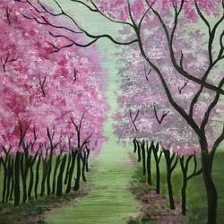 cherry blossom , 18 x 24 inch, simla moideen,18x24inch,canvas board,paintings,landscape paintings,acrylic color,GAL02477236239