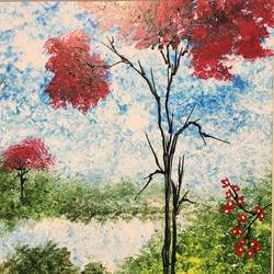 beautiful abstract  made with knife, 6 x 6 inch, shweta salunkhe,paintings for dining room,paintings for living room,paintings for bedroom,paintings for office,thick paper,acrylic color,6x6inch,GAL012773624