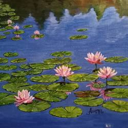 lotus pond, 14 x 12 inch, aravind padmashali,14x12inch,canvas,paintings,nature paintings | scenery paintings,paintings for living room,acrylic color,GAL02455836240