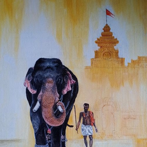 temple street, 12 x 16 inch, aravind padmashali,12x16inch,canvas,paintings,elephant paintings,paintings for dining room,paintings for living room,paintings for office,paintings for hotel,paintings for dining room,paintings for living room,paintings for office,paintings for hotel,acrylic color,GAL02455836242
