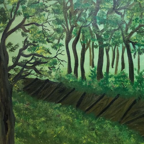 walkway through a forest, 24 x 18 inch, simla moideen,24x18inch,canvas,paintings,landscape paintings,acrylic color,GAL02477236244