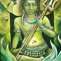 shiva, 18 x 24 inch, sanjana sharma,18x24inch,canvas,paintings,religious paintings,paintings for dining room,paintings for living room,paintings for bedroom,paintings for hotel,paintings for hospital,oil color,GAL02405736254