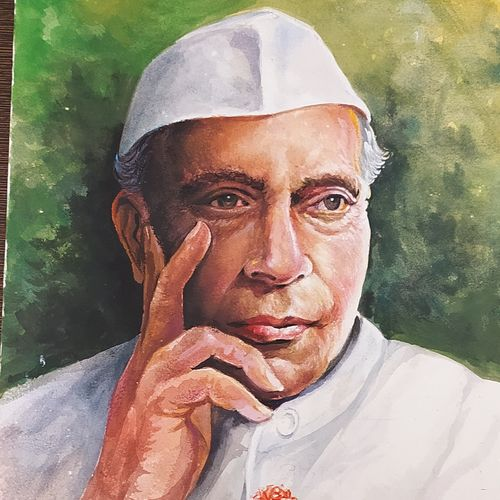 pandit jawaharlal nehru, 10 x 12 inch, rashid matwal,10x12inch,renaissance watercolor paper,paintings,figurative paintings,watercolor,GAL02188836256