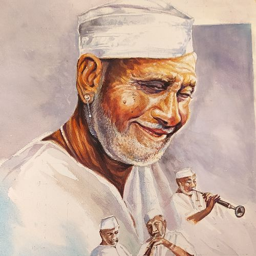 ustad bismillah khan, 10 x 12 inch, rashid matwal,10x12inch,renaissance watercolor paper,paintings,figurative paintings,watercolor,GAL02188836258