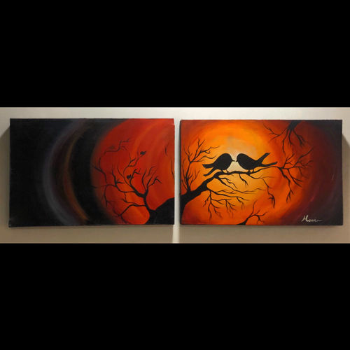 love birds , 37 x 12 inch, manvi bansal,37x12inch,canvas,paintings,abstract paintings,wildlife paintings,paintings for dining room,paintings for living room,paintings for bedroom,paintings for office,paintings for kids room,paintings for hotel,paintings for kitchen,paintings for school,paintings for hospital,acrylic color,GAL02476436272