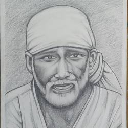 sri saibaba, 8 x 11 inch, sujitha artgallery,8x11inch,thick paper,paintings for living room,figurative drawings,paintings for living room,graphite pencil,paper,GAL049636278
