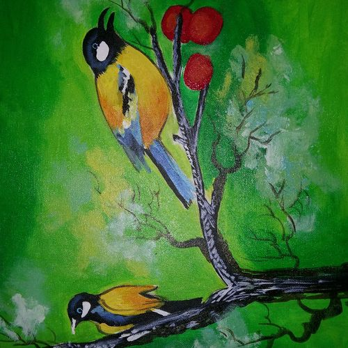 bird cucoo, 15 x 12 inch, popo singh,abstract paintings,paintings for living room,animal paintings,canvas,watercolor,15x12inch,GAL013293628