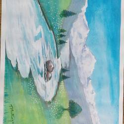 nature 2, 8 x 11 inch, sujitha artgallery,8x11inch,ivory sheet,paintings,landscape paintings,paintings for living room,pastel color,GAL049636282