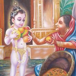 the krishna and  fruits lady , 24 x 36 inch, sujitha artgallery,24x36inch,canvas,paintings,figurative paintings,paintings for dining room,oil color,GAL049636283