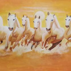 seven running horse , 38 x 24 inch, renuka bagde,38x24inch,canvas,horse paintings,paintings for living room,paintings for living room,acrylic color,GAL02169336284