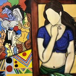 kala kriti , 26 x 33 inch, mrinal  dutt,26x33inch,canvas,paintings,figurative paintings,conceptual paintings,contemporary paintings,paintings for dining room,paintings for living room,paintings for bedroom,paintings for office,paintings for bathroom,paintings for kids room,paintings for hotel,paintings for kitchen,paintings for school,paintings for hospital,acrylic color,GAL01311736286