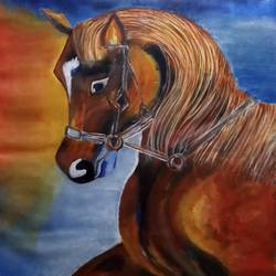 abstract horse, 32 x 34 inch, renuka bagde,32x34inch,canvas,abstract paintings,horse paintings,acrylic color,GAL02169336289