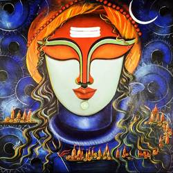 visheshwar, 32 x 32 inch, susmita mandal,32x32inch,canvas,paintings,lord shiva paintings,paintings for living room,paintings for bedroom,paintings for hotel,acrylic color,GAL01940536294