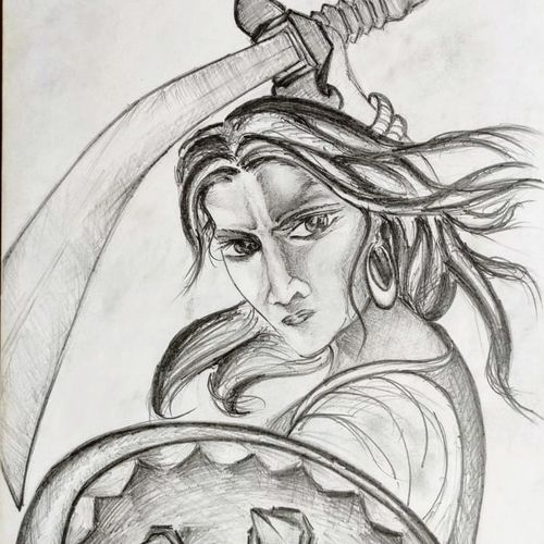 laxmi bai - warrior queen, 11 x 15 inch, srijita pal,11x15inch,paper,drawings,portrait drawings,paintings for dining room,paintings for living room,paintings for bedroom,paintings for office,paintings for kids room,paintings for hotel,paintings for school,paintings for hospital,pencil color,GAL02482336295